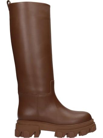 Gia X Pernille Teisbaek Perni 07 Low Heels Boots In Brown Leather