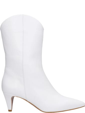 Julie Dee High Heels Ankle Boots In White Leather