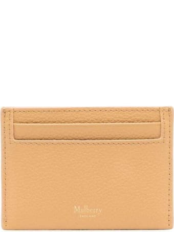 Mulberry Continental Beige Leather Card Holder With Logo