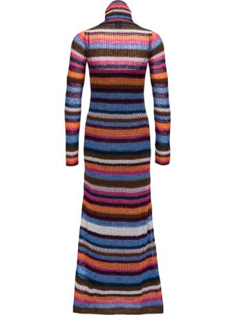 M Missoni High Neck Striped Wool Blend Long Dress