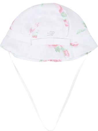 Blumarine White Sun Hat For Babygirl