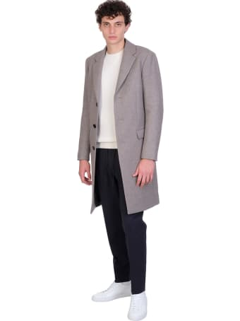 Theory Coat In Grey Wool