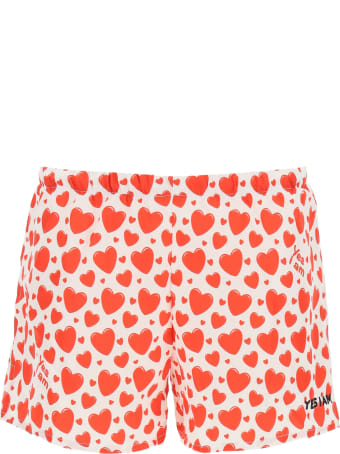 YES I AM Red Hearts Print Swim Shorts