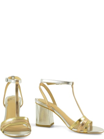 Guess Silver And Gold Laminated Leather Sandals