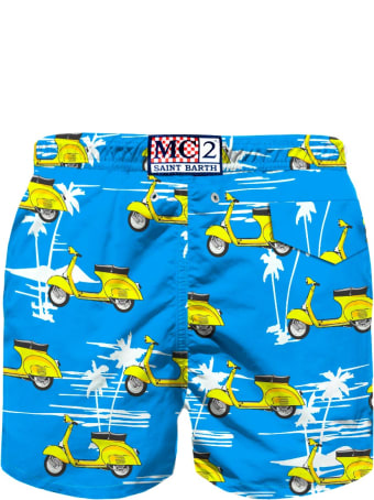 MC2 Saint Barth Vespa© And Palms Print Boy's Swim Trunks - Vespa® Special Edition