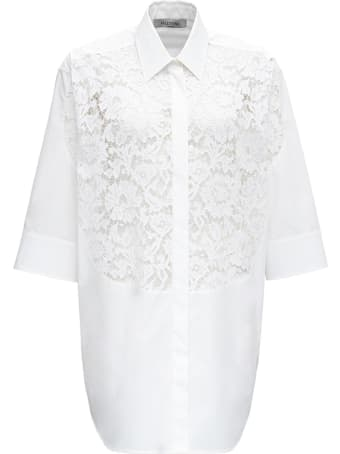 Valentino Poplin Cotton Shirt With Lace Detail
