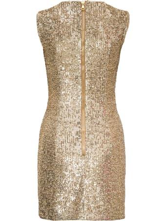 Balmain Short Pleated Dress With Golden Paillettes