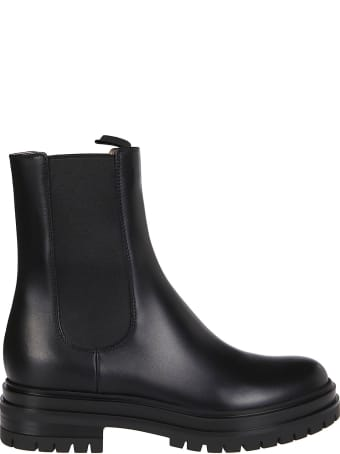 Gianvito Rossi Black Leather Chester Chelsea Boots