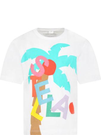 Stella McCartney White T-shirt For Girl With Logo