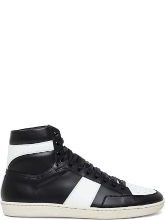 Saint Laurent Signature Court Sneakers In White And Black Leather