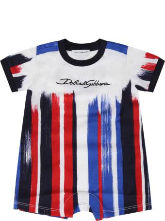 Dolce & Gabbana White Set For Baby Boy With Logo