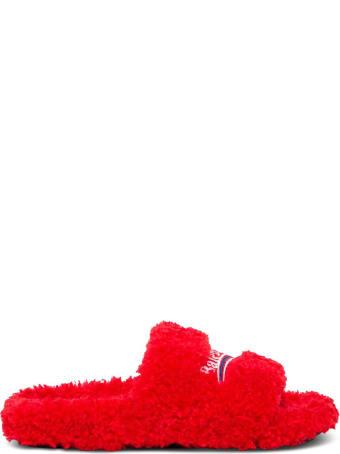 Balenciaga Furry Sandals With Logo