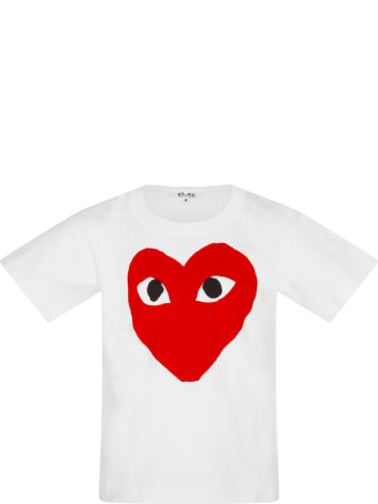 Comme des Garçons Play White T-shirt For Kids With Logo