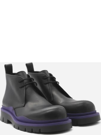 Bottega Veneta Tire Lace-up Leather Ankle Boots