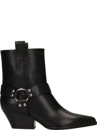 Sergio Rossi Texan Ankle Boots In Black Leather
