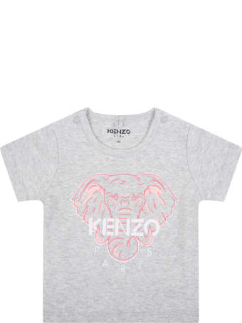 Kenzo Kids Grey T-shirt For Babygril With Elephant