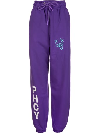 Pharmacy Industry Woman Purple Slim Fit Joggers With Contrast Prints