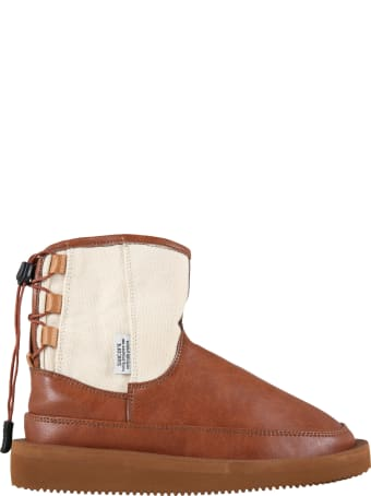 SUICOKE Brown Boots For Kids With Logo
