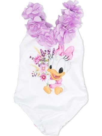 Monnalisa White Daisy Duck Swimsuit