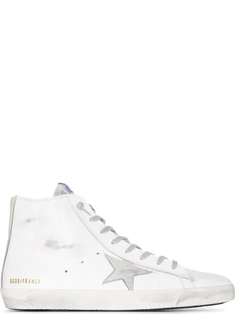 Golden Goose Man White Francy Sneakers With Silver Suede Star