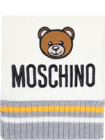 Moschino Ivory Scarf For Baby Kids With Teddy Bear