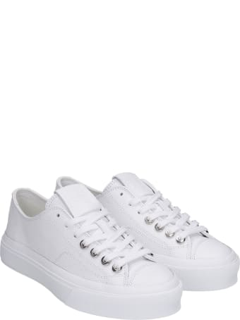 Givenchy City Low Sneakers In White Leather