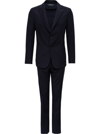 Z Zegna Single Breasted Black Wool Suit