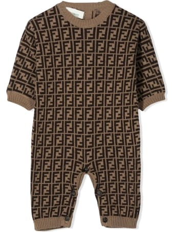 Fendi Brown Cotton/cashmere/wool Romper