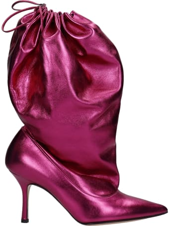 Marc Ellis Gillaball High Heels Ankle Boots In Bordeaux Leather