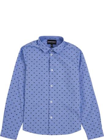 Emporio Armani Light Blue Cotton Shirt With Allover Logo Print