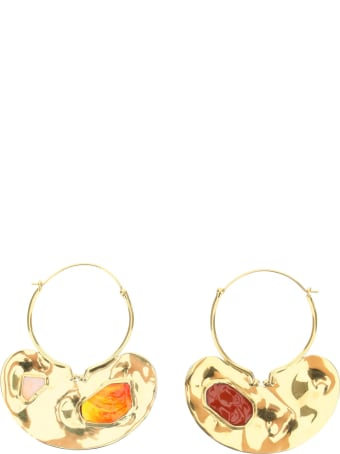 Patou Iconic Small Hoop Earrings With Stones