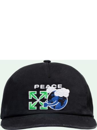 Off-White Cotton Cap With Peace Worldwide Embroidery