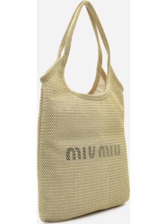 Miu Miu Tote Bag In Woven Raffia With Logo Print