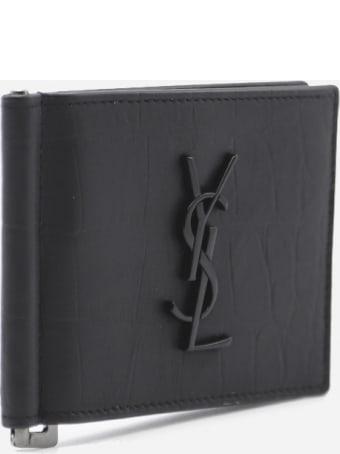 Saint Laurent Monogram Wallet In Croc Effect Leather
