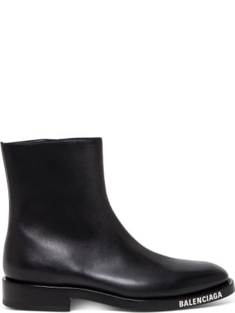Balenciaga Leather Booties With Contrasting Logo