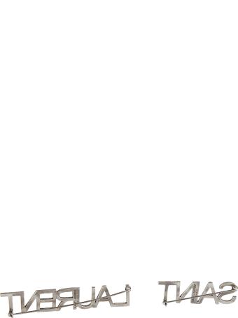 Saint Laurent Logo Studded Brooch