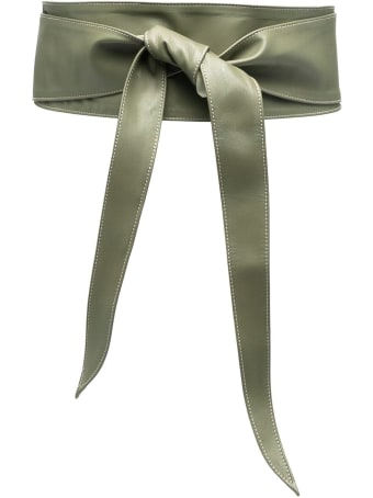 Federica Tosi Green Leather Belt With Knot Detail