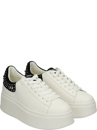 Ash Mobystuds Sneakers In White Leather