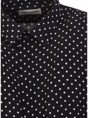 Saint Laurent Yves Collar Classic Shirt In Dotted Silk Crepe De Chine