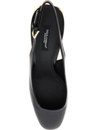 Dolce & Gabbana Patent Leather Slingback With Dg Karol Heel