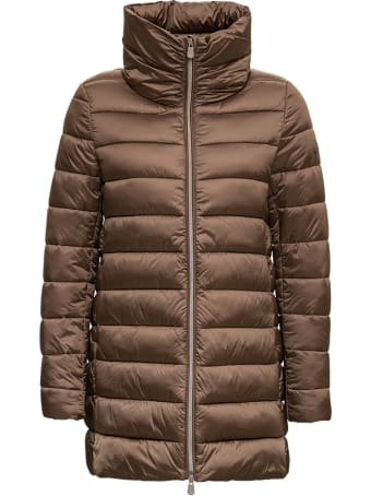 Save the Duck Long Brown Nylon Down Jacket