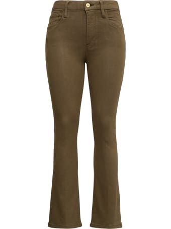 Frame Green Flared Coated Denim Jeans
