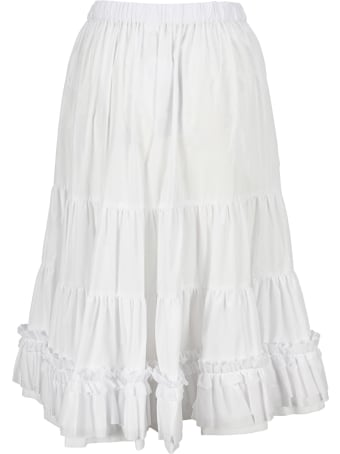 Comme Des Garçons Girl White Cotton Ruched Detail Skirt