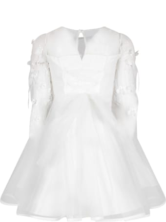 Loredana White Dress For Girl With Flowers And Feathers
