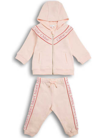 Chloé Coordinated Pink Cotton Suit With Logo