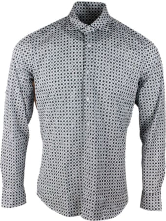 Sonrisa Luxury Shirt In Soft, Precious And Very Fine Stretch Cotton Flower With French Collar In Flower Pattern Print Style In Contrasting Color