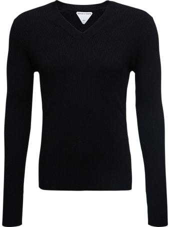 Bottega Veneta Black Long-sleeved Ribbed Wool Sweater