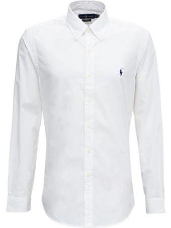 Polo Ralph Lauren White Cotton Poplin Shirt With Logo