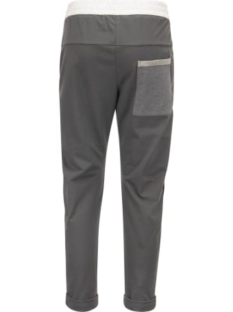 """Brunello Cucinelli Paneled Trousers In Light Stretch Cotton Fleece With """"shiny Patch Pocket"""""""