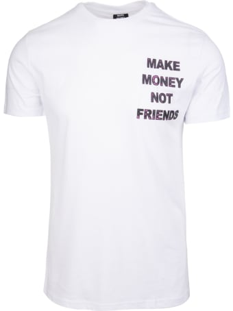 Make Money Not Friends White T-shirt With Purple Front And Back Logo